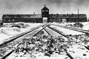 An undated archive photograph shows Auschwitz II-Birkenau main guard house which prisoners called ...